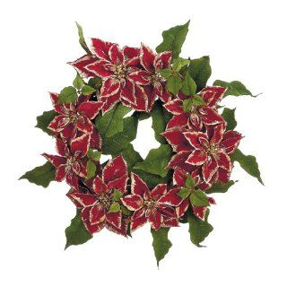 "24"" Red Royal Poinsettia Flower Christmas Wreath #XPR336 RE"