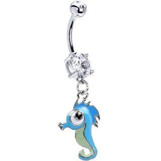 Blue Sea Horse Belly Ring Jewelry