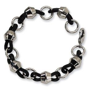 Mens Chunky Black Rubber Stainless Steel Chain Bracelet Jewelry