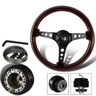 345mm 6 Hole Dark Wood Grain Style Deep Dish Steering Wheel + Civic/CRX/Integra Hub Adapter Automotive