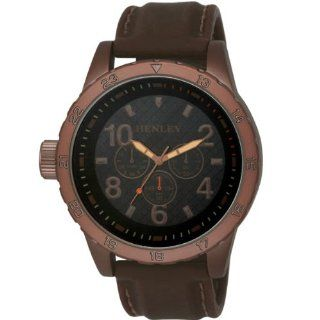 Henley Gents Gun Metal Sports Antique Brown Silicone Strap Watch H02064.4 Watches