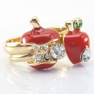 DaisyJewel Adjustable 2 Apple Ring Set Snow White & the Evil Queen Red Poison Apple Resizable Gold Ring Pair Jewelry