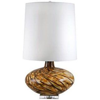 Swirl Amber Art Glass Table Lamp