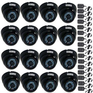 VideoSecu 16 Pack CCTV Day Night Vision Outdoor Dome Security Cameras Infrared Color CCD Wide Angle Vandal Proof for DVR Home Surveillance System with Power Supplies and Bonus Security Warning Decals M7K  Bullet Cameras  Camera & Photo