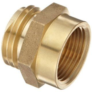 "Moon 357 1061021 Brass Fire Hose Adapter, Nipple, 1"" NPT Female x 1"" NH Male"