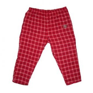 Mens NFL San Francisco 49ers Plaid Cotton Thermal Sleepwear / Pajama Pants   Red & White (Size 5XL)  Sports Fan Pants  Sports & Outdoors
