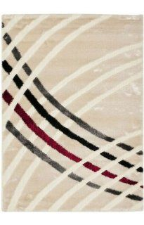 Safavieh Miami Shag Collection SG359 1391 Beige and Multi Shag Area Rug, 4 Feet by 6 Feet   Black Area Rug With Red And Beige