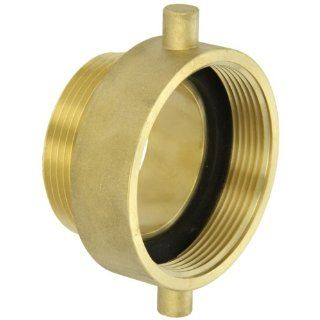 "Moon 369 3022521 Brass Fire Hose Adapter, Pin Lug, 3"" NH Female x 2 1/2"" NH Male"