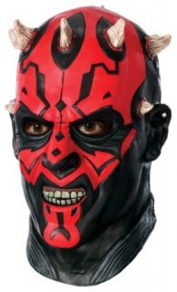 Star Wars Darth Maul Deluxe Adult Overhead Latex Mask, Red, One Size Clothing