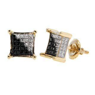 0.19CT, White&Black Round Diamond Micro pave Setting 3D Square Men's Stud Earrings in 10K Yellow Gold Jewelry