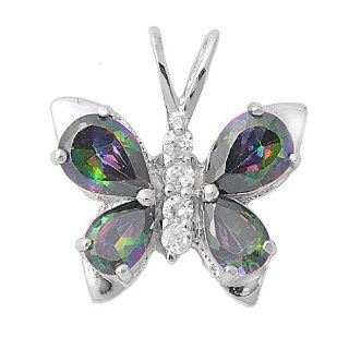 Rainbow Topaz CZ Butterfly Pendant and Necklace in Sterling Silver NakedJewelryLA Jewelry