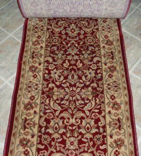 "148571   Rug Depot Traditional Oriental Rug Runner Remnant   31"" x 17'11 Hall Runner   Shaw Woven Expressions Gold Collection 3M376 12800   Garnet Background   Hallway Runner ON SALE   FREE Serging Applied on Ends   Carpet Runner Machine Made of 1"