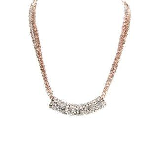New Women Fashion Trendy Elegant Statement Silver Crystal Rhinestone Bar With Rose Gold Multiple Chain Link Strand Necklace Jewelry