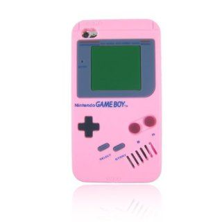 Nintendo Game Boy Gameboy Silicone Case Cover For ipod touch 4 itouch 4th 4 Generation Pink + Free smiling face (random color) Headphones