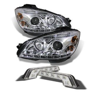 Carpart4u Mercedes Benz C Class W204 DRL LED Chrome Projector Headlights and LED Day Time Running Light Package Automotive