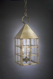 Pyramid Top H Bars Hanging Antique Brass 2 Candelabra Sockets Clear Glass   Pendant Porch Lights