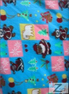 "CHRISTMAS PRINT POLAR FLEECE FABRIC   Blue Santa   60"" SOLD BY THE YARD (387)"
