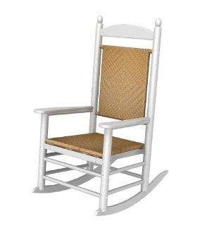Recycled Earth Friendly Kennedy Outdoor Rocking Chair   White w/ Tigerwood Weave  Patio Rocking Chairs  Patio, Lawn & Garden