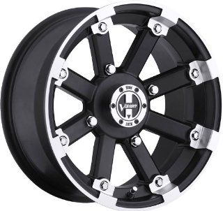 VISION WHEEL   393 lock out   14 Inch Rim x 8   (4x156) Offset ( 10.2) Wheel Finish   matte black machined lip with chrome hex bolt inserts Automotive