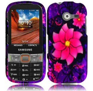 Purple Pink Flower Hard Cover Case for Samsung Array Montage SPH M390 Cell Phones & Accessories