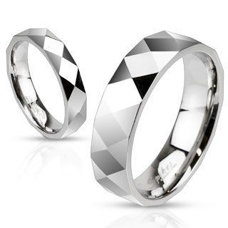 STR 0025 Stainless Steel Diamond Cut Faceted Band Ring; Comes with Free Gift Box Jewelry