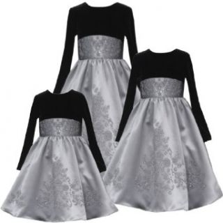 Rare Editions Girl 2T 6X SILVER GRAY BLACK VELVET SATIN CAVIAR BEADED Special Occasion Wedding Flower Girl Holiday Pageant Party Dress 6X RRE 41550H H741550 Clothing
