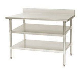 "Eagle Group 24144SADJUS 18/4 Adjustable Work Table Undershelf, 144x24"", 18/403 Steel, Each   Floating Shelves"