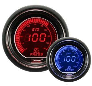 "Oil Pressure Gauge  EVO Series Blue and Red Digital 52mm (2 1/16"") Automotive"