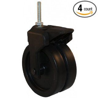 "Jacob Holtz 405 2XPP 24 WB 4"" X Caster, plastic caster dual wheel with brake (set of 4)"