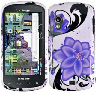 White Purple Flower Hard Cover Case for Samsung Galaxy S Stratosphere SCH i405 Cell Phones & Accessories