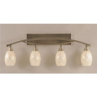 Bow 4 Light Bath Bar in Brushed Nickel Finish w 5 in. Sea Shell Glass