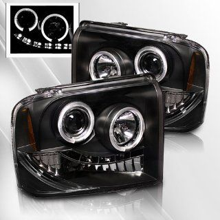 Ford F250, Superduty 05 06 07 Projector Headlights /w LED Halo/Angel Eyes ~ pair set (Black) Automotive