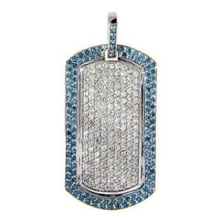 14k White Gold Blue Diamond Dog Tag Pendant (4.90Cttw) Jewelry