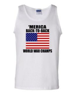 'Merica Back to Back World War Champs Flag DT White Tank Top T Shirt Tee Clothing