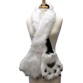 White Animal Faux Fur Scarf W/ Paw Pocket Mittens Clothing
