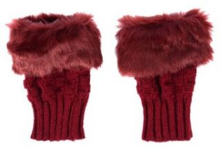 Simplicity Cute/Comfortable Gloves w/ Warm Fur Detail, Fingerless   Burgundy Clothing
