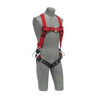 Protecta PRO, 1191385 Fall Protection Full Body Welders Harness, With 3 D Ring's, Tongue Buckle Legs, 420 Pound Capacity, Medium/Large, Red/Black,   Fall Arrest Safety Harnesses