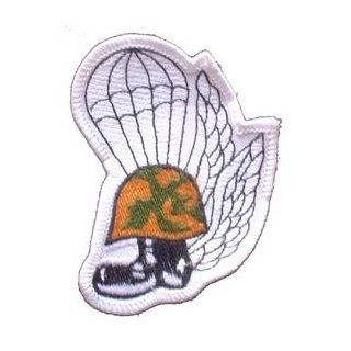 USMC Marine Corps Military Embroidered Iron On Patch   Marine Helmut w/ Boot Parachute Trooper & Wings Applique Clothing