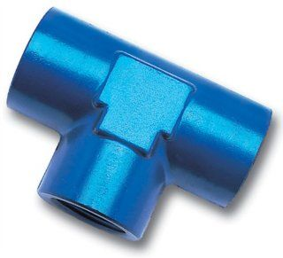 "Edelbrock/Russell 661720 Blue Anodized Aluminum 1/4"" Female Pipe Tee Fitting Automotive"