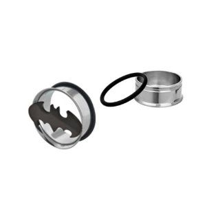 "Batman 316L Surgical Steel Single Flare Tunnel Plugs with O Rings   1/2"" (12mm)   Sold as a Pair   Official Licensed Product Jewelry"