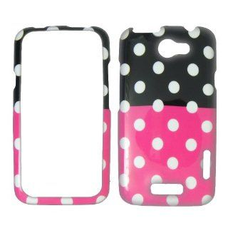 HTC ONE X   1 X   AT&T   White Polka Dots on Hot Pink on Black Plastic Case, SnapOn, Protector, Cover Cell Phones & Accessories