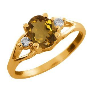 1.23 Ct Oval Whiskey Quartz and White Topaz 18k Yellow Gold Ring Jewelry