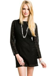 Longsleeve Open Back Lace Dress in Black, X Small