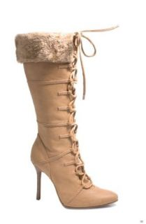 "Ellie Shoes E 433 Viking, 4"" Heel Knee High Boot with Fur. 5 Brown Shoes"