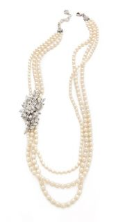 Ben Amun Crystal Flower Pearl Necklace