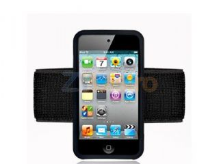 Black Armband Silicone Rubber Gel Sport Arm Band Skin Case Cover for iPod Touch 4th Generation 4G