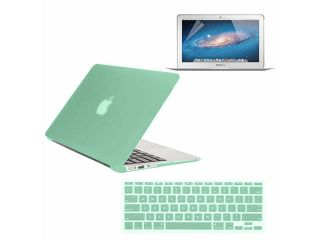 Ocean Green – Brand New Rubber Coated Case + Keyboard Skin Cover + Anti Glare Screen Protector for Apple MacBook Air® 11 Inch