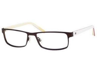 Tommy Hilfiger 1127 Eyeglasses In Color Semi Matte Brown White Yellow (04XX) Size 55/16/140
