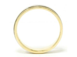 Mens Solid 950 Platinum & 18 K Yellow Gold Two Tone 6MM Flat Wedding Band Ring