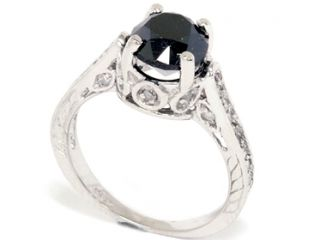 2.69CT Black Diamond Vintage Style Engagement Ring 14K White Gold SZ (4 10)